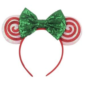 Minnie Mouse Christmas Candy Sequin Headband & Bow
